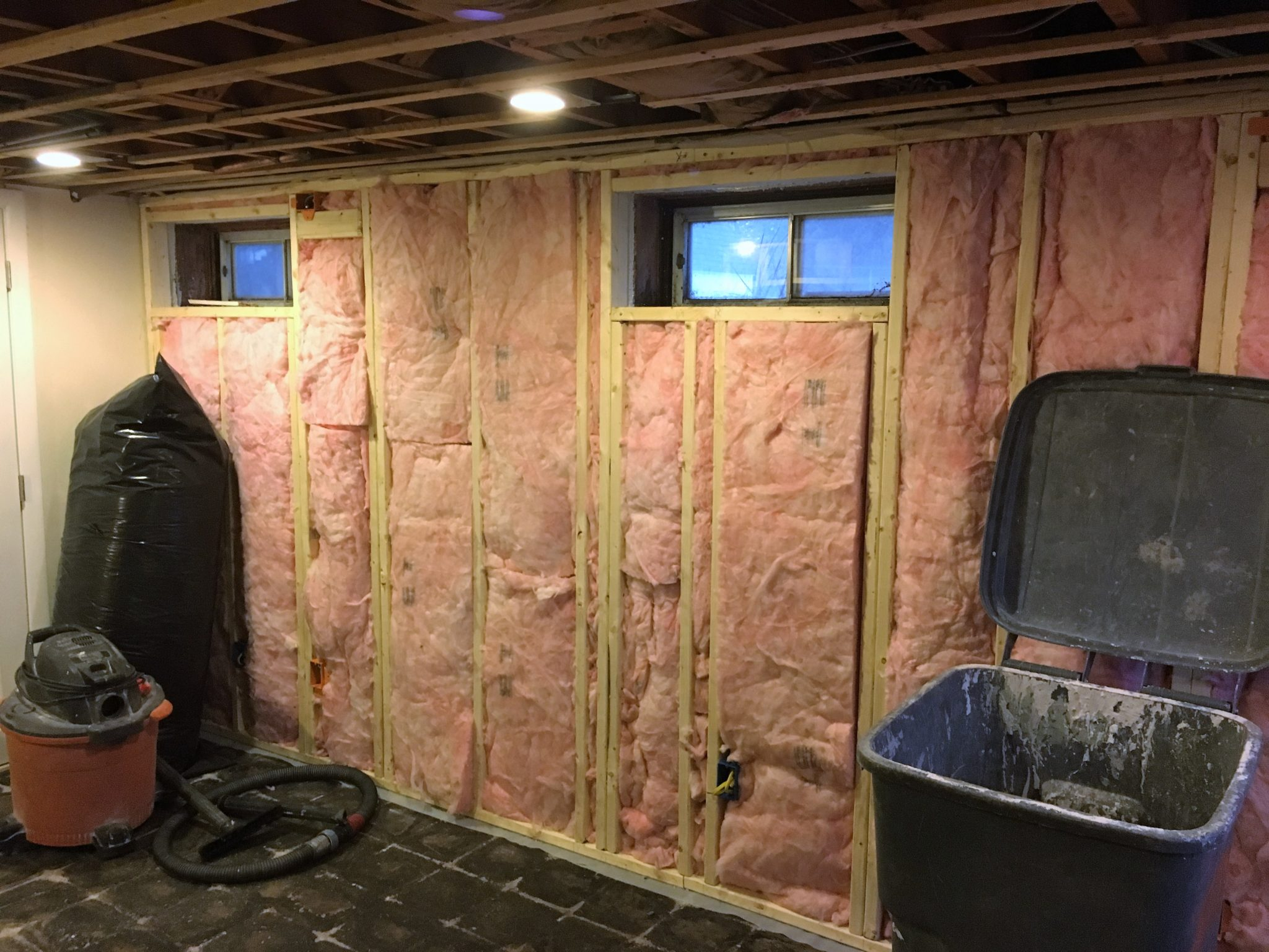 South Hadley Ma Basement Bonus Room Home And Hearth Remodeling Wiring Insulation The New Walls Have Been Filled With R 13 Combined 10 Foam Board This Gives Wall A Better Than 23 Rating Without Any
